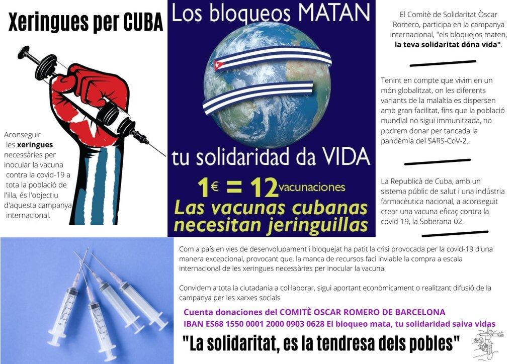 Campanya solidària de recollida de fons per a enviar xeringues per a Cuba